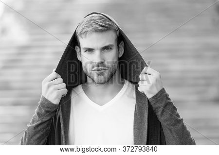 Male Fashion Influencer. Fashionable Young Model Man. Popular Street Style. Handsome Man With Hood S