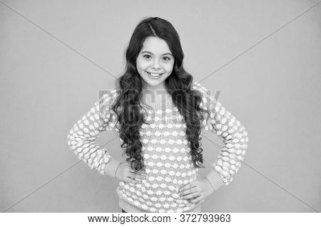 Feeling Good Fabulous Hairstyle. Happy Girl Wear Wavy Hairstyle Blue Background. Little Child With L