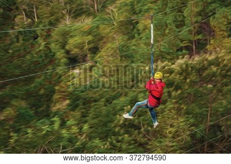 Woman Descending By Cables In A Sport Called Zip-line Over Green Forest In A Valley Near Canela. A C