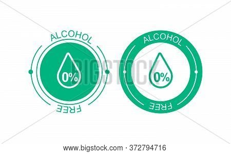 Alcohol Free Vector Icon. Skin And Body Care Cosmetic Product Medical Alcohol Free Drop And Percent
