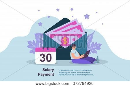 Salary Payment Concept, Showing A Man Working Laptop Salary Payment Day, Suitable For Landing Page,