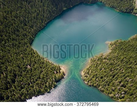 Aerial Photo Of The Black Lake In National Park Durmitor