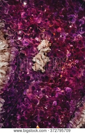 Detail Of Semiprecious Gemstone Of Amethyst With Calcite Inclusions In Gramado. A Cute European-infl