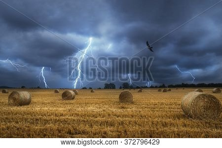 Bales Of Hay On The Field During A Lightning Storm. Force Of Nature Landscape. Agricultural Field Wi