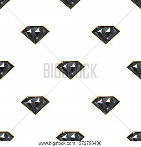 Endless Vector Pattern Of Black Diamonds On White Backdrop. Luxury Jewels Geometric Precious Objects