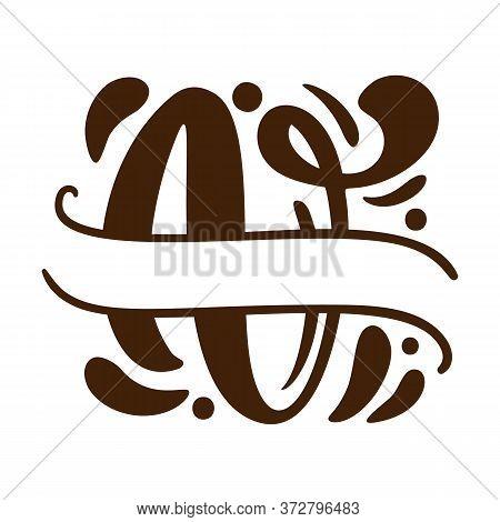Split Letters V Name Vector Hand Drawn Calligraphic Floral Monogram Or Logo. Uppercase Hand Letterin