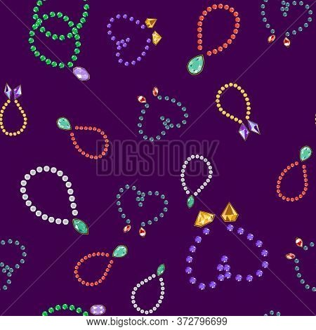 Seamless Vector Pattern Of Diamond Jewellery. Luxury Jewels Geometric Precious Objects. For Cover, B