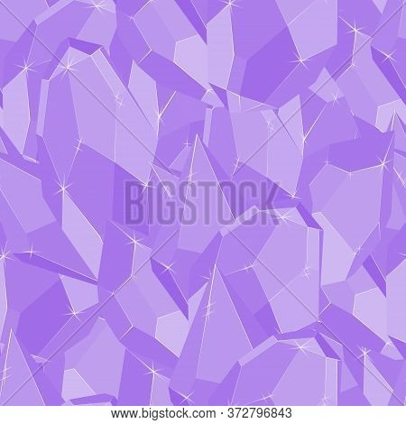 Lilac Precious Stones Iceberg Seamless Vector Pattern. Luxury Jewels Geometric Precious Objects. For