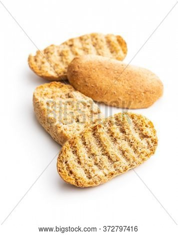 Rusk bread. Dried crispbread isolated on white background.