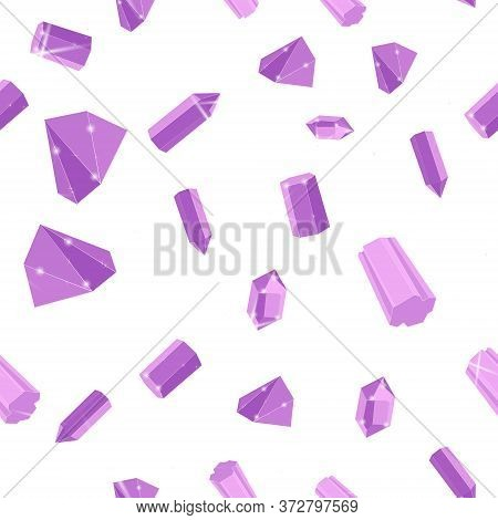 Lilac Precious Stones Seamless Vector Pattern Of White Backdrop. Luxury Jewels Geometric Precious Ob