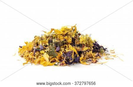 Heap Of Dried Yellow Flowers Isolated On White Background