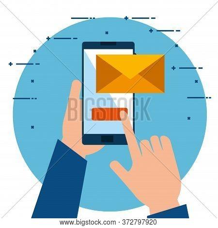 Hands Using Smartphone Sending Email Vector Illustration Design