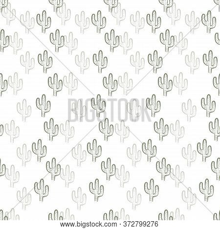 Seamless Green Repeating Cactus Pattern With White Background. Outline Cactus Cute Kids Pattern.