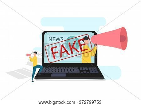 Spread Of Fake News Concept. Man With Megaphone Talking Faking News. Vector Illustration