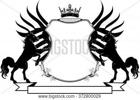 Heraldic Shield Crest Emblem Coat Of Arms Tattoo In Vector Format