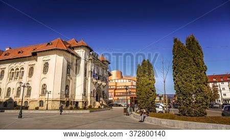 Campulung Muscel, Romania - June 20, 2020: Town Hall Or City Hall In Campulung Muscel, Arges County,
