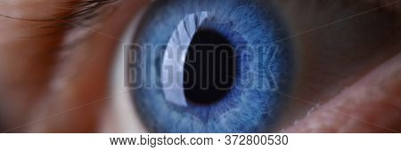 Male Eye Blu Color Super Macro Closeup Shot. Laser Vision Correction And Cataract Treatment Concept