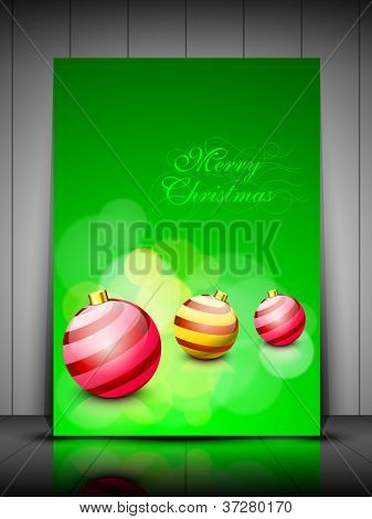 poster of Merry Christmas greeting card or gift card with creative beautiful eve balls. EPS 10.