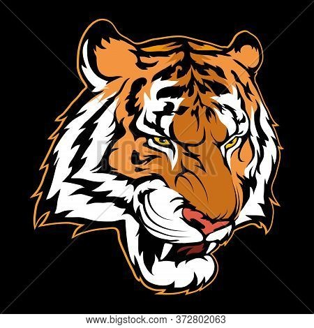 Vector Illustration Of A Tiger. Wild Animal For Tattoo Or T-shirt Print. Tiger Illustration For A Sp