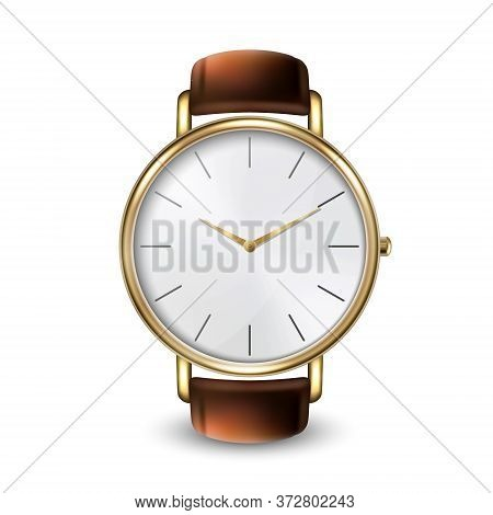 3d Vector Realistic Golden Classic Vintage Unisex Wrist Watch Icon Closeup Isolated On White Backgro