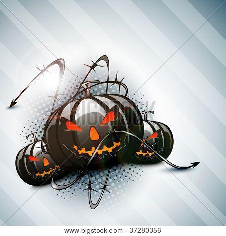 Scary Halloween pumpkins. EPS 10. poster