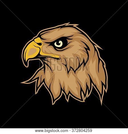 Vector Illustration Of A Eagle. Bird For Tattoo Or T-shirt Print. Head Eagle Illustration For A Spor