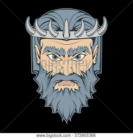 Vector Illustration Of A Hades. Greek God For Tattoo Or T-shirt Print. Olympian God Illustration For