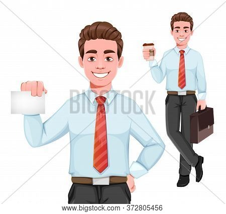 Successful Business Man, Set Of Two Poses. Handsome Businessman In Business Clothes With Coffee And