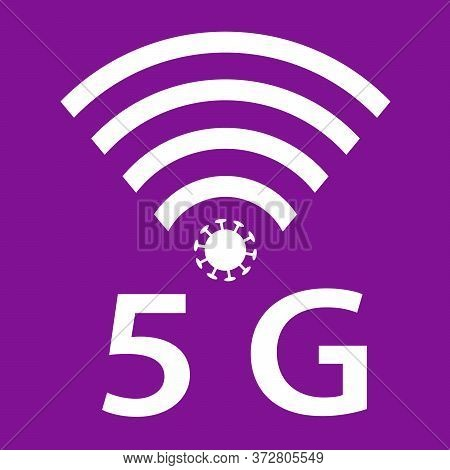 Vector Icon Design Of Coronavirus 5g Zone Concept On Violet Background. Conspiracy Theorists Attacke