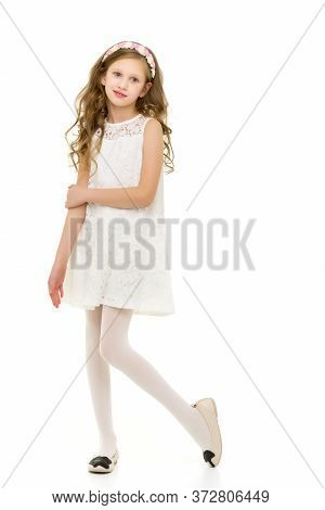 Full Body Length Portrait Of Beautiful Girl Wearing Elegant White Lace Dress, Lovely Preteen Girl Wi