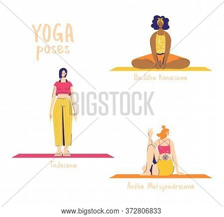 Set Of Yoga Poses. Female Characters Practice Yoga. Yoga Concept. Yoga Poses Sign. Half Lord Of The