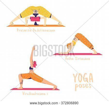 Set Of Yoga Poses. Female Characters Practice Yoga. Yoga Concept. Yoga Poses Sign. Wide Legged Forwa