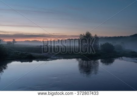 Camping Camp By The River. Camping Athletes Kayakers. Camping Tents And Kayaks. Sunrise. Camping By