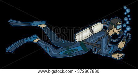 Vector Illustration Of A Diver. Diving For Tattoo Or T-shirt Print. Scuba Diving Illustration For A