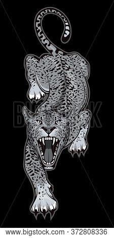 Vector Illustration Of A Jaguar. Predator Mammal For Tattoo Or T-shirt Print. Wild Animal Illustrati