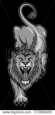 Vector Illustration Of A Lion. Predator Mammal For Tattoo Or T-shirt Print. Animal Illustration For