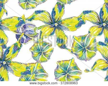 Classic Blue And Lush Lava Red Vibrant Sakura And Jasmine Print. Floral Ayurveda Pattern. Bio Jasmin