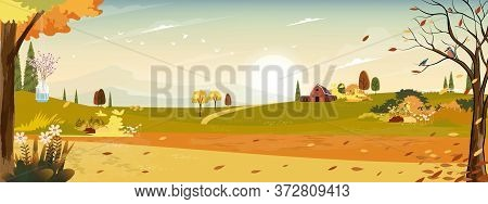 Autumn Landscaps With Fram Fields Wooden Barn And Grass Land In Hills, Natural Foliage Background In