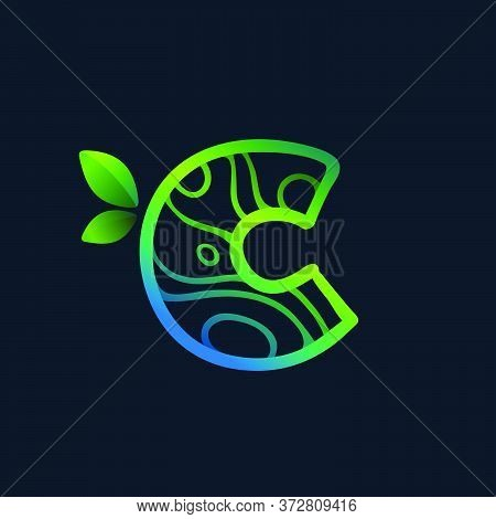 Letter C Logo With Eco Waves Pattern. Perfect Vector Green Icon For Landscape Design, Natural Print