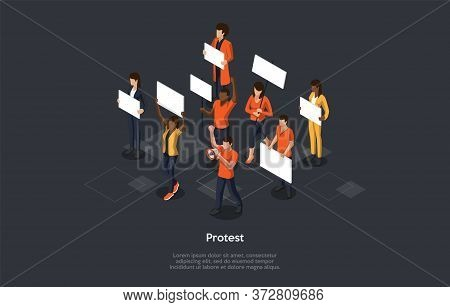 Mass Protest Action Concept. Dissatisfied Multiethnical Agressive People With Protest Banners Compla