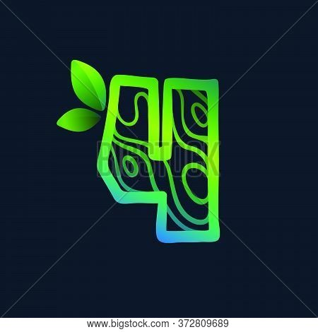Number Four Logo With Eco Waves Pattern. Perfect Vector Green Icon For Landscape Design, Natural Pri
