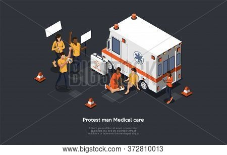 Mass Action Protest Concept. Emergency Medical Technician Rescue Activist Life During Mass Protest A
