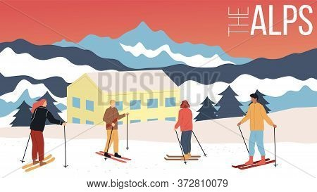 Concept Of Skiing, Winter Tourism. Group Of People In Equipment Skiing In Alps. Beauitiful View On M