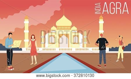 Concept Of Agra Sightseeing And Tourism. People Visit India. Male And Female Characters With City Ma