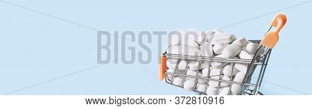Medicine. Pharmacy And Prescription Drugs Concept. Shopping Cart Full Of White Pills Or Tablets. Saf