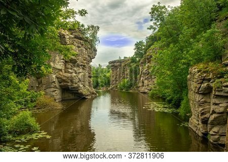 Beautiful Landscape Water Canyon Rocks Passage In Cloudy Weather Day Time Picturesque Scenic View Na
