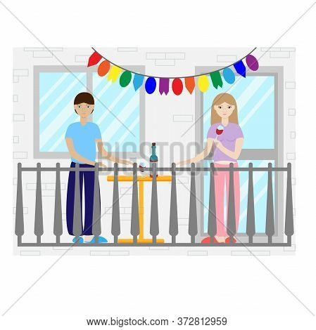 Vector Illustration Man And Woman Are Standing On The Balcony. Relax On The Balcony With Wine. Celeb