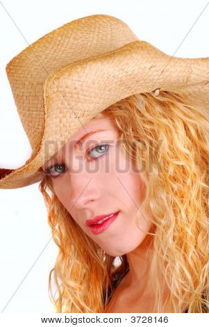 Young Woman Wearing A Straw Hat