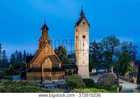 Karpacz, Dolnośląskie / Poland-june 18, 2020.:the Oldest Wooden Temple In Poland. Old Evangelical Ch