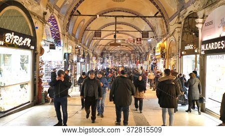Istanbul, Turkey - January 8, 2020: People Shopping In The Grand Bazar In Istanbul, Turkey, One Of T